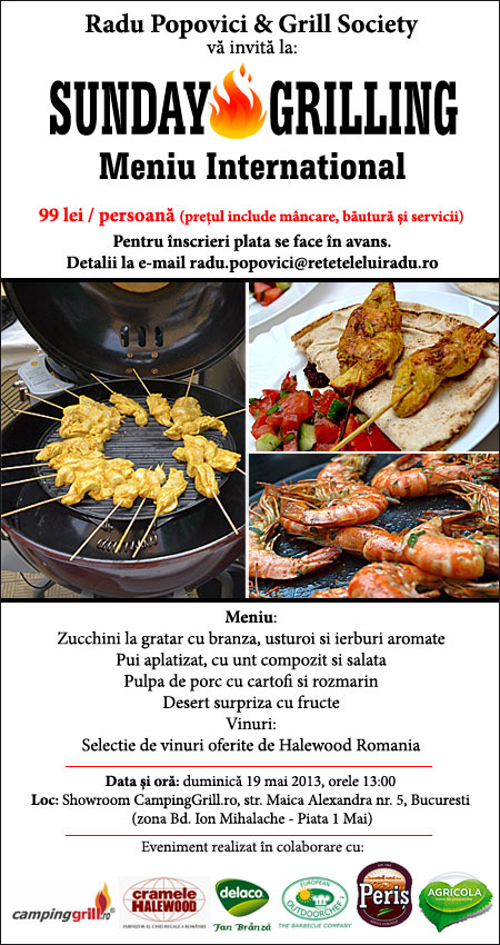 "Meniu international la ""Sunday Grilling"" – 19 mai 2013"