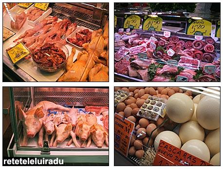 La Boqueria - Barcelona: carne de porc, vanat, oua
