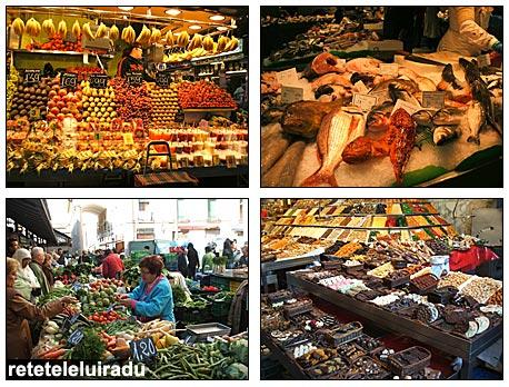 La Boqueria - Barcelona: legume, fructe, peste, dulciuri