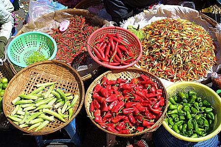 Ardei iuti intr-o piata din Phnom Penh