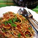Spaghete cu calmari si mazare