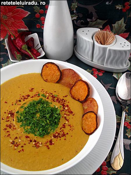 Supa crema de cartofi dulci cu lapte de cocos - Supa crema de cartofi dulci cu lapte de cocos 1 - Retetele lui Radu