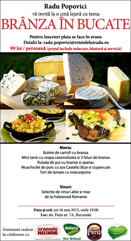 """branzaBucate1 - Joi, 16 mai, la mansarda: eveniment culinar """"Branza in bucate"""" 1 - Retetele lui Radu"""