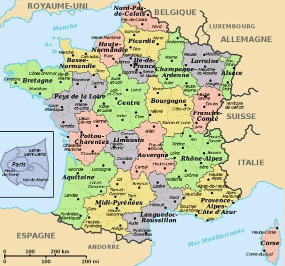 Harta Frantei - sursa foto: www.frenchchateau.net